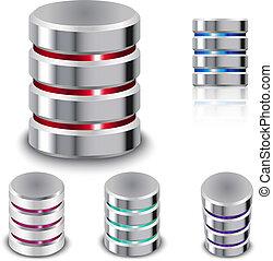 disque, ensemble, dur, icône, base données