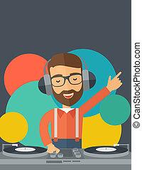 disque, music., jockey, mélange