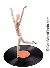 disque, vinyle, danse, mannequin