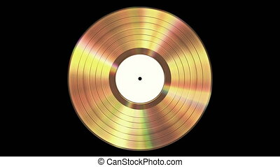 disque vinyle, looped., alpha, channel., iridescent, or, fond, seamless, noir