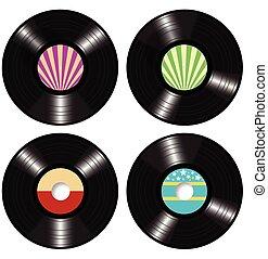 disques, vecteur, vinyle, lp