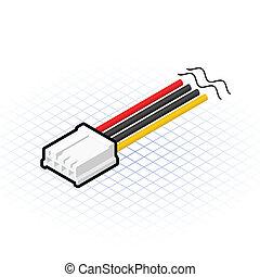 disquette, connecteur, isométrique, 4, épingle