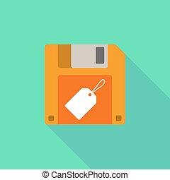 disquette, ombre, icône, long, étiquette