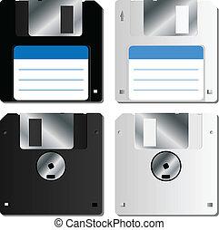 disquette, réaliste, disque, ensemble