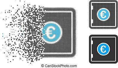dissoudre, sûr, halftone, pixelated, icône, euro