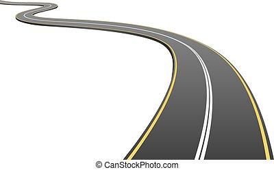 distance, asphalte, résumé, isolé, arrière-plan., aller, blanc, route