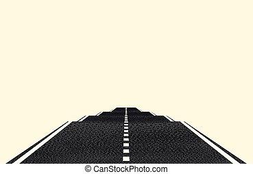 distance, concept, lumière, objet, isolé, voyage, arrière-plan., vecteur, rest., route, markings., voyage