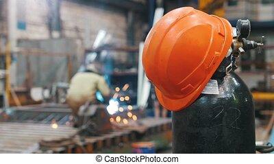 distance, gasbag, fonctionnement, casque, -, manufactory, soudure, rouges, homme
