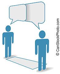 distance, gens, communication, bavarder, social, travers