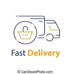 distribution, panier provisions, livraison, icône, ordre, ligne, achat, camion, expédition