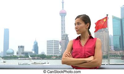 district, pudong, business, financier, porcelaine, projection, portrait femme, shanghai