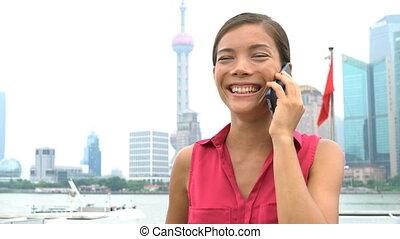 district, pudong, business, financier, porcelaine, téléphoner femme, conversation, shanghai