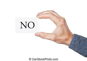 dit, main, carte, non
