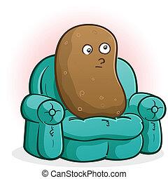 divan, caractère, dessin animé, pomme terre