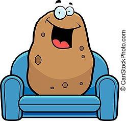 divan, dessin animé, pomme terre