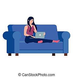 divan, ordinateur portable, conception, femme, fonctionnement, dessin animé, vecteur