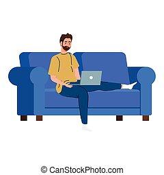 divan, ordinateur portable, conception, fonctionnement, homme, dessin animé, vecteur