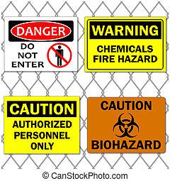 divers, barrière, chaîne, danger, image, arrière-plan., prudence, signes, lien