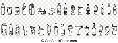 divers, collection, boissons, griffonnage, ensemble