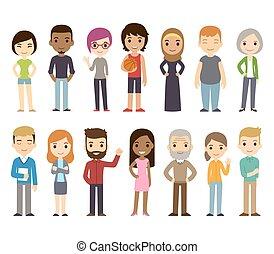 divers, dessin animé, gens