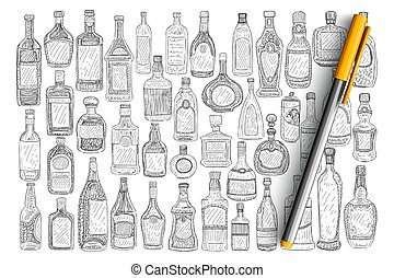 divers, ensemble, bouteilles, griffonnage, verre