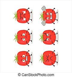 divers, expressions, tomate, fâché, dessin animé, caractère