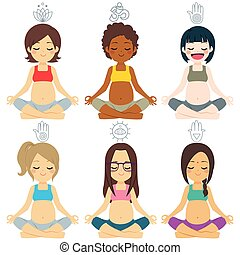 divers, groupe, poses, yoga, pregnant