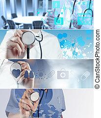 divers, moderne, collage, concept médical