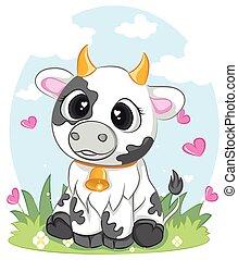 divers, poses., sits., illustration, mignon, vecteur, vache, caractère, vaches