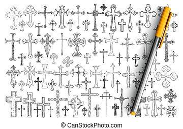 divers, religieux, griffonnage, ensemble, croix