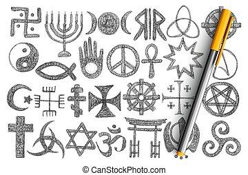 divers, religieux, griffonnage, symboles, ensemble