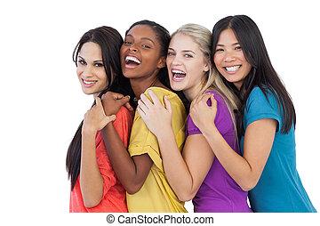 divers, rire, appareil photo, femmes, embrasser, jeune