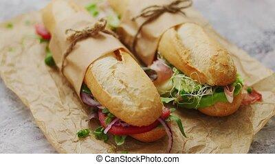 divers, sandwichs, fait maison, prendre, ingredients., petit déjeuner, savoureux, concept, baguettes, loin, sain
