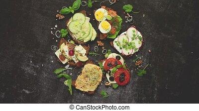 divers, sarrasin, sandwichs, fait maison, toppings, fait, sain, pain, vegan