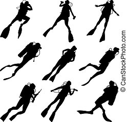 divers., silhouettes, ensemble
