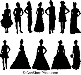 divers, silhouettes, robe, femmes