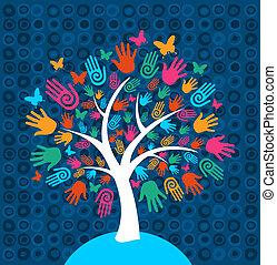 diversité, arbre, fond, mains
