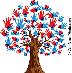 diversité, arbre, isolé, mains