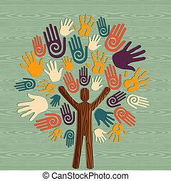 diversité, arbre, mains humaines