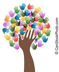 diversité, arbre, mains