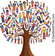 diversité, arbre, pixel, humain