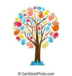 diversité, coloré, arbre, main, culturel, équipe