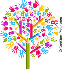 diversité, education, arbre, mains