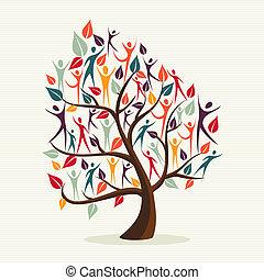 diversité, feuilles, ensemble, arbre, humain