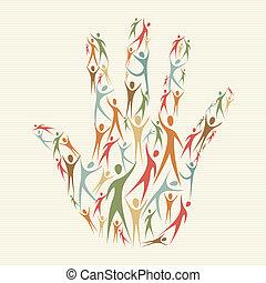 diversité, main humaine, concept
