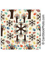 diversité, mains, arbre, modèle