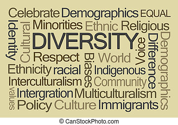 diversité, mot, nuage