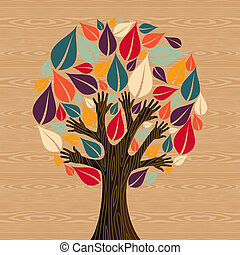 diversité, résumé, arbre, mains