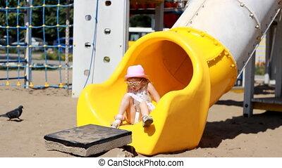 divertissement, attractions, jouer, enfant, playground., girl, enfants
