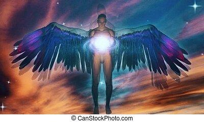 divin, ailé, ange, galaxie, être, tenue